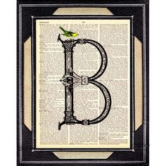 LETTER B  Ornate Letter of the Alphabet  with Beautiful Blue Bird  art print for 5x7 frame.    Original Design by Ephemera And More Art Studio.