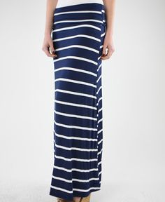$22.99 Navy and White Maxi Skirt. So cute for Summer!