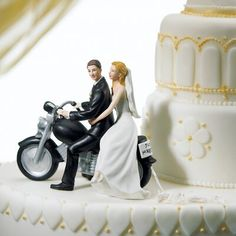 Wedding Cake Top Bride Groom Motorcycle, Motorcycle Wedding Cake Topper, Bride and Groom Figurines for Cake Top, Motorcycle Wedding Figurine Fun Wedding Cake Toppers, Bride And Groom Cake Toppers, Personalized Wedding Cake Toppers, Wedding Topper, Cool Wedding Cakes, Party Wedding, Prom Party, Motorcycle Cake, Motorcycle Couple