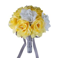 Color:åÊLight yellow with white roses Bouquet made large open roses in yellow and white. Measurement: DIA x Handle: h gray ribbon and bling åÊ Prom Bouquet, Bride Bouquets, Flower Bouquet Wedding, Batman Wedding, Cat Wedding, Wedding Ideas, Dream Wedding, Prom Flowers, Silk Flowers