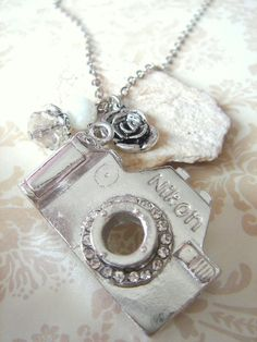 Snapshots Camera necklace with rose charm Rhodium plated by Beadix, $9.50