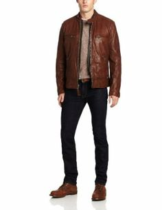 Denim & Leathers Andrew Marc Men's Racer Leather Jacket with Removable Vest