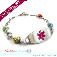 Purple Red Millefiori Glass My Identity Doctor Pre-Engraved /& Customized Bee Sting Allergy Bracelet