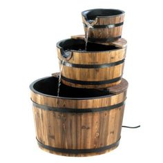 Amazon.com: Rustic Three Tier Apple Barrel Outdoor Water Fountain: Home & Kitchen