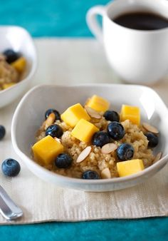 Quinoa breakfast bowl with fruit.