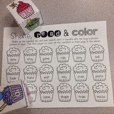 Long Vowel /a/ Cupcakes Freebies (First Grader. Phonics Words, Phonics Games, Word Games, Vowel Activities, Literacy Activities, Reading Activities, Vowel Worksheets, Reading Games, Teaching Reading