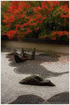 "three zen gardens of the ""dry landscape"" variety, also known as rock gardens of the karesansui style★枯山水★ Japanese Rock Garden, Zen Rock Garden, Zen Garden Design, Dry Garden, Japanese Landscape, Japanese Gardens, Japanese Plants, Garden Stones, Hydrangea Landscaping"