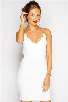 e0a2ca9ed8d993 Megan McKenna White Lace Bodycon Dress White Lace Bodycon Dress
