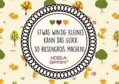 Baby Spruch zur Geburt: Etwas winzig Kleines kann das Glück so riesengroß machen!  HOBEA HOBEA-Germany Baby Spruch Quote zur Geburt Glück Spruchbild Fuchs Füchse Waldtiere Babyshop