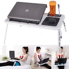 Foldable Laptop Notebook Desk Stand Bed Table Folding Adjustable USB Cooling Fan | shopswell