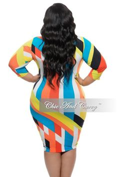 New Plus Size Long Sleeve BodyCon Dress w/ Neck Tie in Color Block White, Black, Yellow, and Orange Print