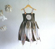 upcycled clothing | Green Fairy Dress Girl's 2T 3T Upcycled Petals Pixie Sundress Plaid ...