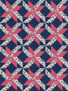 Pink Floral Blooms Pre-Cut Quilt Blocks Kit from Quilt Kit Shop