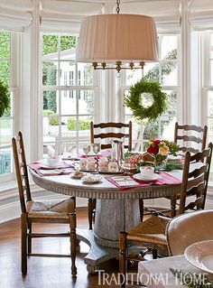Christmas in a California Home with a Neutral Palette | Traditional Home -- love the light fixture