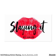 Bold Makeup Artists Slaying It Kissing Red Lips Business Card