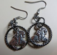 Jousting Knights in Shining Armor Earrings by nambypambyjewelry, $13.00