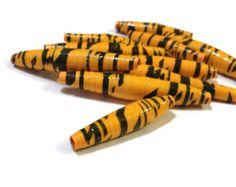 Orange Striped Paper Beads- Paper Craft Jewelry, Tiger, Unusual Beads - (T2)