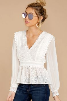 Ivory Lace Top, Sheer Lace Top, Lace Tops, White Lace Blouse, Ruffle Blouse, Lace Top Outfits, Prom Dress Shopping, Fashion Outfits, Neutral Blouses