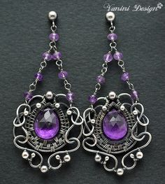 Baroque-Fine999/sterling silver,Purple amethyst post chandelier earrings by VaniniDesign, via Flickr
