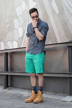 green Lacoste shorts - camel Timberland boots - navy Levis shirt