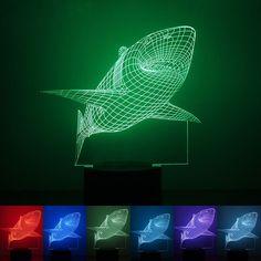 Hot 3D Shark Illusion Decor Bulbing Sensor Night Light LED USB Electronic Home Gadget Bedroom Table Lamp Nightlight Child Gift