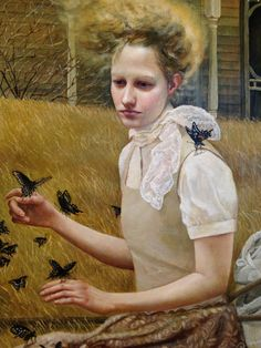 Andrea Kowch (b. 1986), acrylic on canvas {contemporary figurative symbolist realism art female with black butterflies painting} andreakowch.com