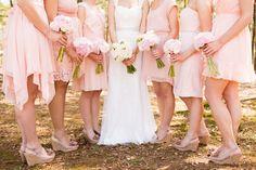 southern wedding soft blush pink bridal party bridesmaid dresses