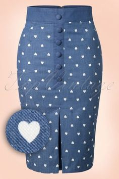 Dancing Days by Banned Judy Hearts Denim Pencil Skirt 120 39 17853 20160330 0009 African Attire, African Wear, African Dress, Skirt Outfits, Dress Skirt, Ankara Mode, African Fashion Skirts, Fitted Skirt, Printed Skirts