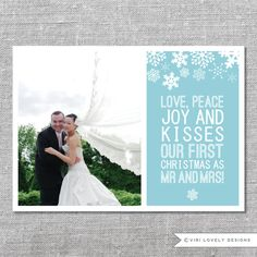 Photo Holiday Card | Printable | Love Peace Joy and Kisses. Our First Christmas as Mr and Mrs | Married Christmas | Newlyweds | 5x7