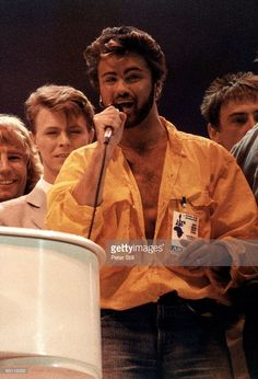 WEMBLEY Photo of David BOWIE and George MICHAEL and LIVE AID