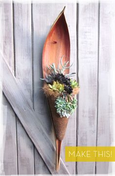 DIY PLANTERS :: How To: Make an All-Natural Hanging Succulent Garden...from a palm leaf/scoop! :: You just need the palm scoop, coconut fiber to line it, metal mesh & succulents! | #curbly #hanginplanter