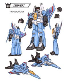 Thundercracker : Contemptuous of anything that cannot fly. Not totally convinced of the Decepticons' cause, but they persuaded him to continue battling Autobots. Flies at speeds up to 1500 mph... produces controlled, deafening sonic booms that can be heard for 200 miles. Equipped with powerful drone rockets and incendiary gun. Doubts about cause sometimes impede effectiveness. This photo was uploaded by TransformersArkColor