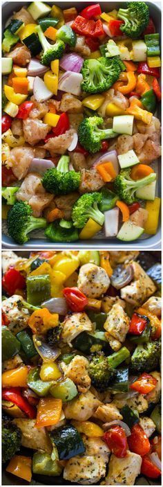 15 Minute Healthy Roasted Chicken and Veggies (One Pan) – nicholee . 15 Minute Healthy Roasted Chicken and Veggies (One Pan) 15 Minute Healthy Roasted Chicken and Veggies (Video) New Recipes, Low Carb Recipes, Cooking Recipes, Recipies, Cooking Tips, Easy Recipes, Indian Recipes, Easy Clean Eating Recipes, Clean Meals