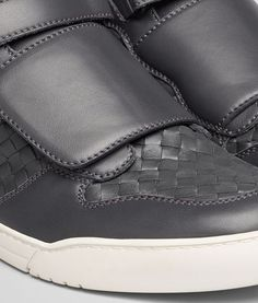 SNEAKER IN ARDOISE CALF AND ARGENTO GROS GRAIN Sheep Leather, Bottega Veneta, Trekking, Grosgrain, Monochrome, Calves, Running Shoes, Slip On, Ankle