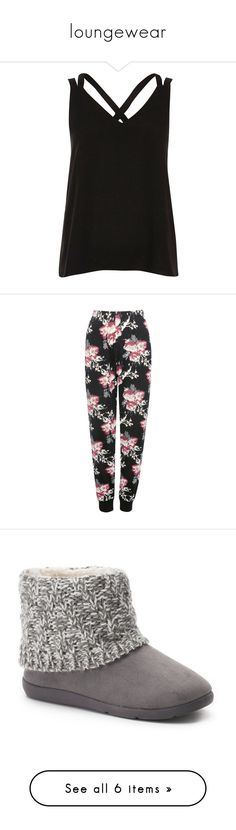 """loungewear"" by helen-kirby16 ❤ liked on Polyvore featuring tops, black, cami / sleeveless tops, women, sleeveless tops, cami tank tops, sleeveless tank, camisole tops, camisole tank top and shoes"