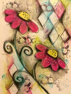 Playing with dylusions and distress inks - art journal page