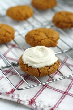 Chewy molasses cookies topped with a creamy frosting. top 8 allergen free, vegan, and gluten free.