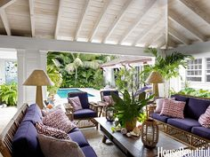 The living room of Liza Pulitzer Calhoun's home in Palm Beach, Florida, sports upholstery in a rich grape color and eye-catching patterns - looks elegantly tropical! Purple Home, Outdoor Rooms, Outdoor Living, Indoor Outdoor, Outdoor Couch, Outdoor Lounge, Outdoor Seating, Porches, Easy Home Upgrades