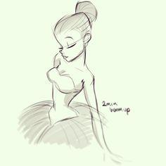 Ballerina, Ballet, Sketch, Drawing / Ballerina, Balletto classico, schizzo, bozzetto, disegno #tutu - Art by Pernille