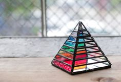 Rainbow Chakra Stained Glass Pyramid by GregStefanStudios on Etsy