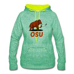 This design commemorates discovered Mammoth remains during construction at Oregon State University's Reser Stadium (front / back) Mammoth OSU Women's Emerald / Neon Yellow Fleck Speckled Hoodie