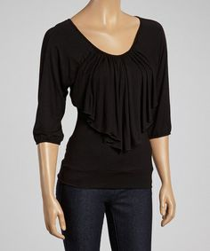 Loving this Black Long Ruffle Top on #zulily! #zulilyfinds