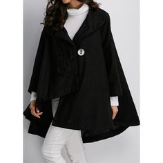 Rotita Asymmetric Hem Long Sleeve One Button Black Coat (2,800 INR) ❤ liked on Polyvore featuring outerwear, coats, black, pattern coat, long coat, collar coat, long sleeve coat and leather-sleeve coats