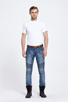 32.50$  Watch here - http://aia9w.worlditems.win/all/product.php?id=32774656928 - Fashion Mens Biker Jeans Pants Distressed Moto Denim Joggers Pleated Jean Pants Fashionable Cool Jeans for Men