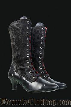 Black Brocade Victorian Boots