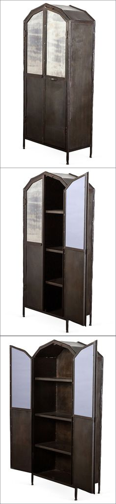 "Anderson Metal Wardrobe :: $1899 | C.G. Sparks @ OneKingsLane.com :: [32""w, 17""d, 71""h] Aged iron & glass w/ antiqued mirror finish. :: GORGEOUS! | #industrial #onekingslane #wardrobe"