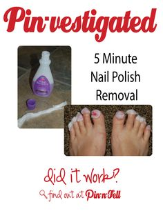 Pin-vesitgated: 5 minutes nail polish removal