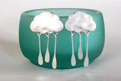 Rain cloud earrings! Made by paperfacestudio on Etsy