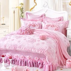 lace ruffle yarn wedding bedding sets,111 roses duvet cover set,king,pink red-inBedding Sets from Home & Garden on Aliexpress.com