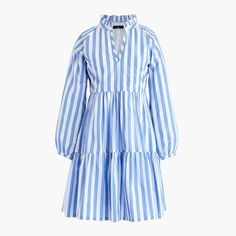 8f706132e5e0 Shop the Tiered popover dress in striped cotton poplin at J.Crew and see the